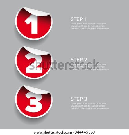 One two three - progress steps vector sticker - stock vector