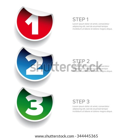 One two three - progress steps vector sticker