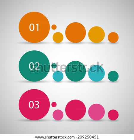 One two three, simple vector progress circles for tutorial, steps or options  - stock vector