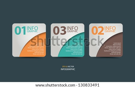 One Two Three, Step By Step Infographic. Can be used for workflow layout, diagram, number options, web design. - stock vector
