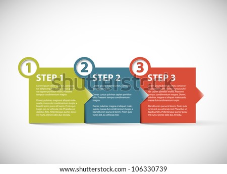 One two three - vector paper retro progress steps for tutorial - stock vector