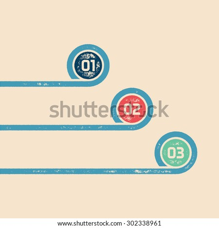 One Two Three - Vector progress infographic template - Three retro grunge ribbons with numbers in circle - stock vector