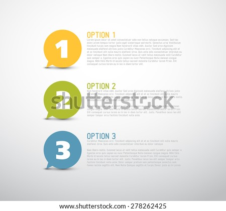 One two three - vector progress speech bubbles for three steps or options - stock vector