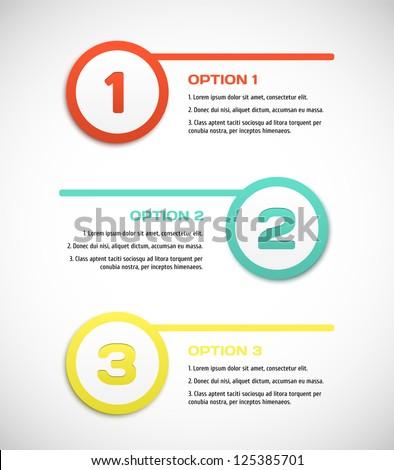 One two three - vector progress steps. - stock vector