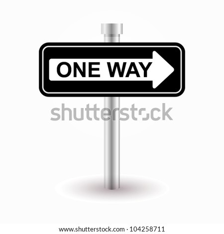 one way road sign - stock vector