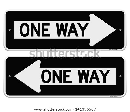 One Way Sign - stock vector