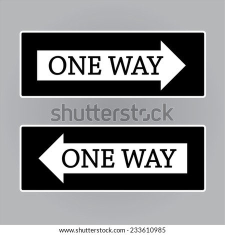 One Way Sign,road way sign vector - stock vector