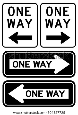 One Way Sign set - stock vector