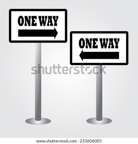 One Way Sign,way sign vector,road sign vector - stock vector