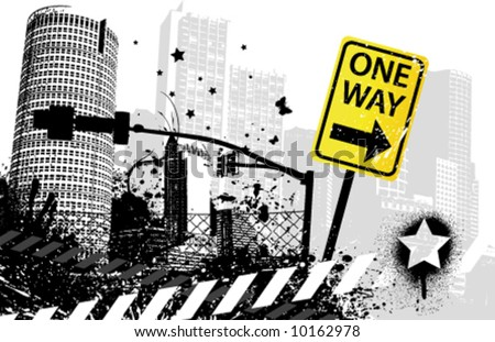 One way traffic sign city - stock vector
