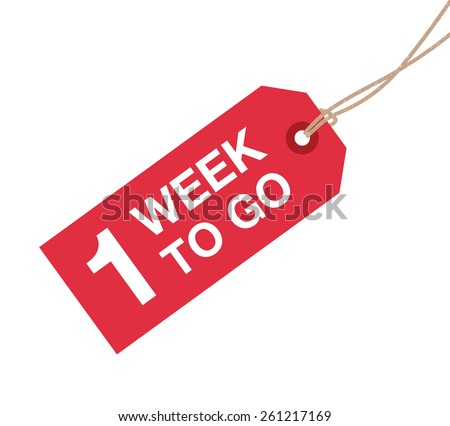 one week to go sign - stock vector