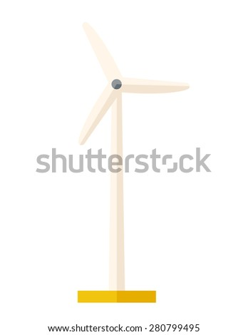 One windmill a energy resources. A Contemporary style. Vector flat design illustration isolated white background. Vertical layout - stock vector