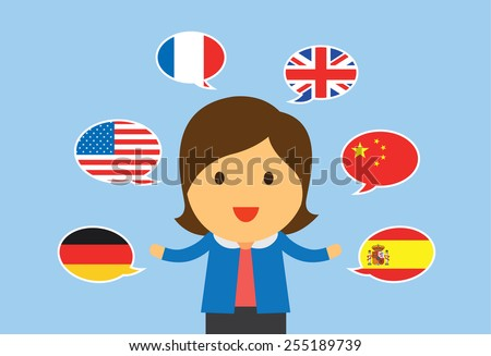 One women can speaking multilingual in flat cartoon version - stock vector