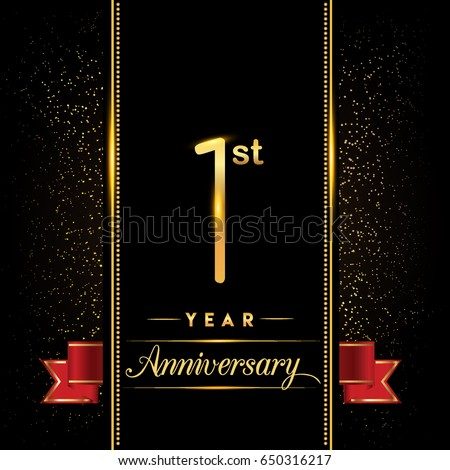 One Year Anniversary Celebration Logotype 1st Stock Vector ...