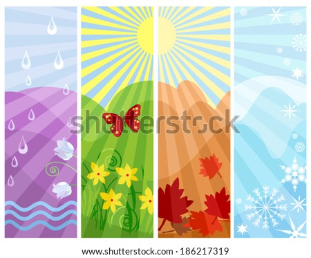 One Year in Four Seasons. Abstract illustration of circles of Nature, four seasons in one picture. Vector file is layered EPS8, all elements are grouped. - stock vector