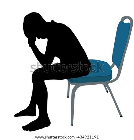 one young man tired sad despair silhouette Full length in studio isolated on white background, Vector silhouette of boy sitting on blue chair with symbolizing sadness and depression - stock vector