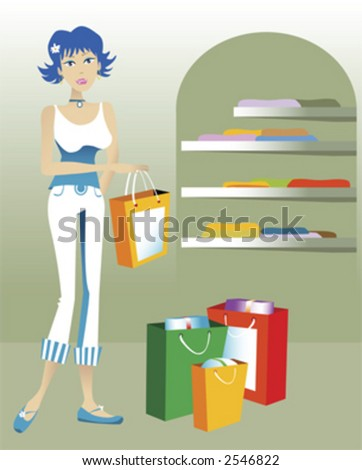 One young woman shopping in a store with shopping bags