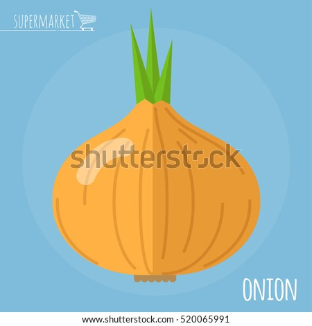 Onion.  Long shadow flat design vector icon.