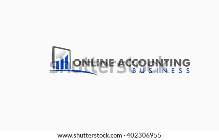 Online Accounting and Bookkeeping Logo - stock vector