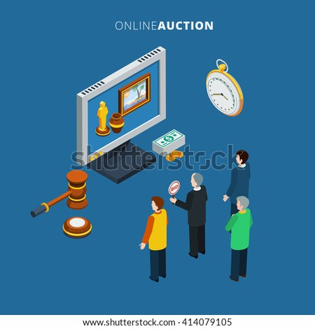 Online auction isometric with bidding man and different lots on the monitor vector illustration - stock vector