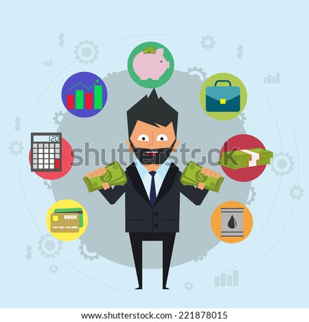 online banking and control of money. investments, loans, deposits and control with a mouse click. vector illustration in a flat style. - stock vector