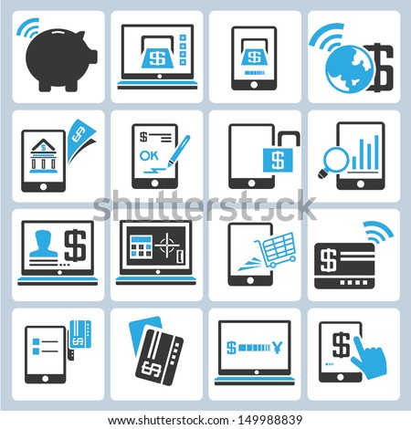 online banking icons set, financial icons set, blue - stock vector