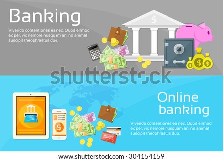 Online Banking Internet Electronic Payment Web Banner Set Flat Vector Illustration - stock vector