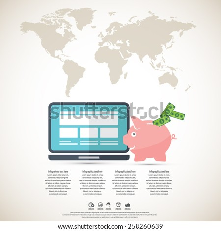 Online banking-make money online-piggy bank and lap top with world map background. All elements (background,piggy bank and device, world map , text) are in separate layers.Can be used for any project. - stock vector