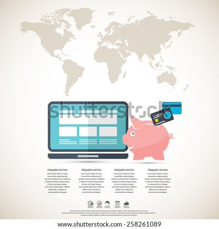 Online banking - piggy bank and lap top with world map background. All elements (background,piggy bank and device, world map , text) are in separate layers.Can be used for any project. - stock vector