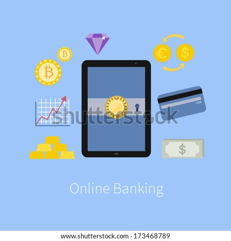 Online Banking service interface and e-commerce financial tools icons with tablet pc screen flat design illustration in vector - stock vector