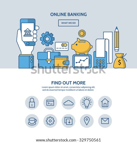 Online banking website hero image concept. One page website design with flat thin line icons. - stock vector