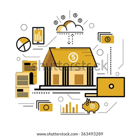 Online banking. World wide Connect. flat thin line design elements. vector illustration - stock vector