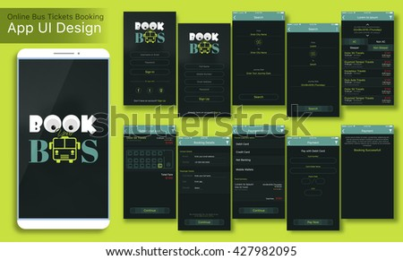 Online Bus Tickets Booking Mobile App UI, UX and GUI Screens Sign In, Sign Up, Search, Select Seat, Booking Details and Payment Option features for responsive websites and e-commerce business concept. - stock vector