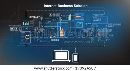 Online business and cloud computing - stock vector