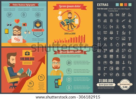 Online Business infographic template and elements. The infographic  template includes illustrations of hipster men and huge awesome set of thin line icons. Modern flat vector infographic design. - stock vector