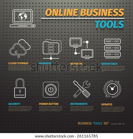Online business tools on dark pegboard with icons set - stock vector