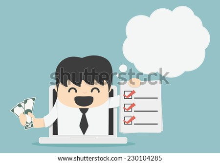 Online businesses have plenty of money - stock vector