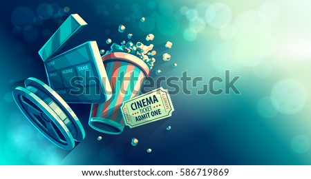 Online cinema art movie watching with popcorn and film-strip cinematograph concept vintage retro colors vector illustration