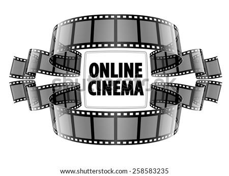 Online cinema video film. Eps10 vector illustration. Isolated on white background - stock vector