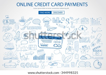 Online credit card payment concept with Doodle design style online purchases, banking, money spending. Modern style illustration for web banners, brochure and flyers. - stock vector