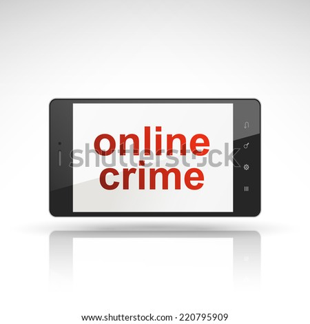 online crime words on mobile phone isolated on white - stock vector