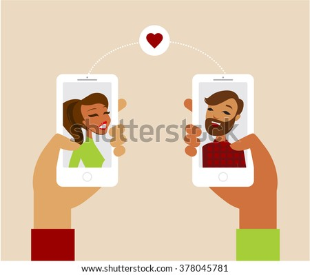 Online dating app concept flat vector illustration