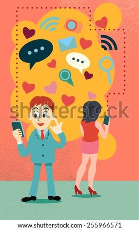 online dating concept , represent love over the internet ,people connect by phone or computer application - stock vector