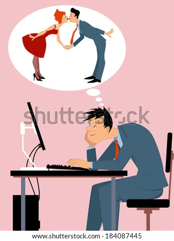 Online dating. Man sitting at the computer, imagining himself in a relationship - stock vector