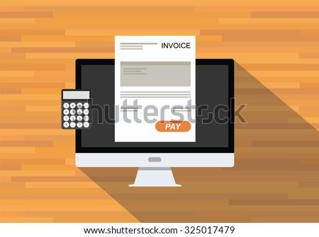 online digital invoices calculator document computer - stock vector