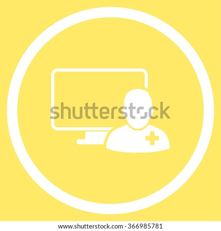 Online Doctor vector icon. Style is flat circled symbol, white color, rounded angles, yellow background.