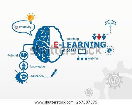 Online e-learning and science concept. Brain and icons in flat style - stock vector