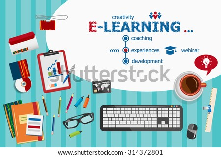 Online e-learning design and flat design illustration concepts for business analysis, planning, consulting, team work, project management. E-learning concepts for web banner and printed materials. - stock vector