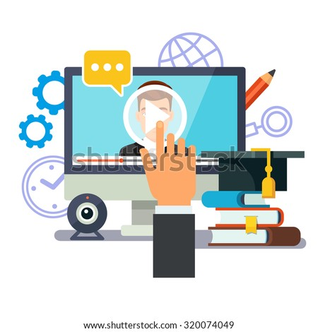 Online education and graduation. Webinar and video seminar learning concept. Businessman hand touching screen with lecture media. Flat style vector illustration isolated on white background. - stock vector