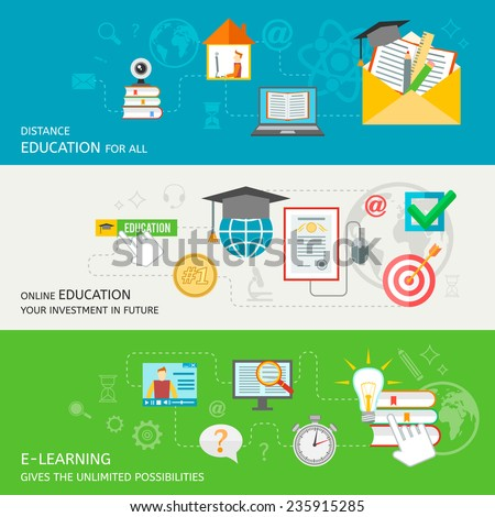 Online education banner set with distance e-learning elements isolated vector illustration - stock vector